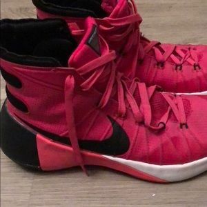 Pink and black Nike hyper dunk basketball sneakers
